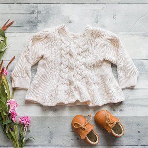 Baby Gap Beige White Cable Knit Sweater Top
